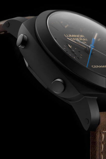 Panerai Luminor 1950 3 Days Chrono Flyback Automatic Ceramica, 飛返, 藍針, 黑陶瓷